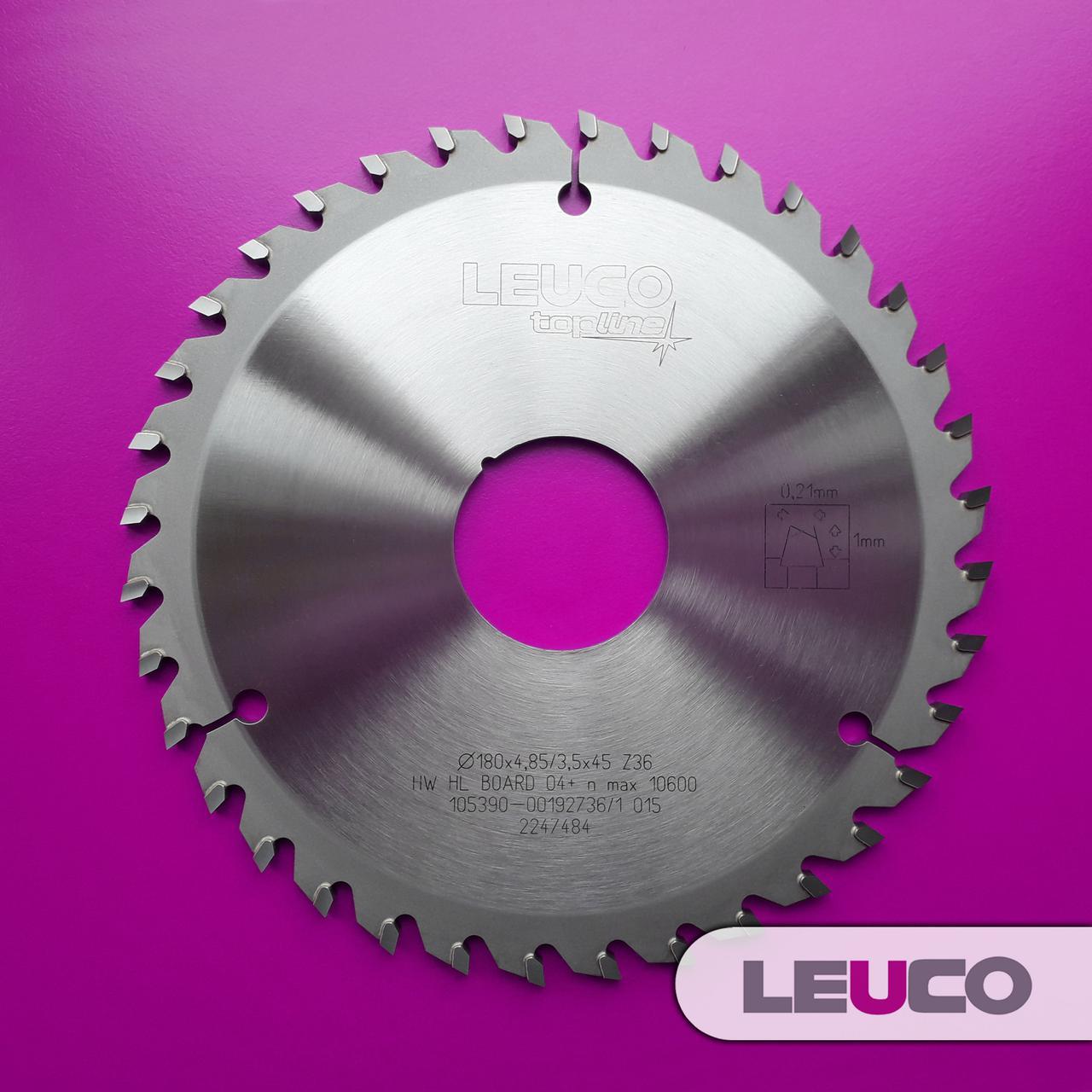 Подрезная дисковая пила Leuco для пильных центров 180х4,85-5,65х3,5х45, Z=36
