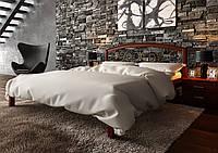 Кровать деревянная полуторная Британия с кованным изголовьем