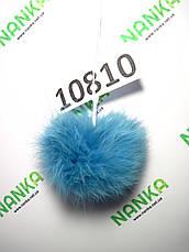 Меховой помпон Кролик, Тем. Бирюза, 7 см,  10810, фото 2
