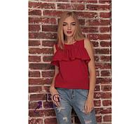Летняя блуза красного цвета с воланом, фото 1