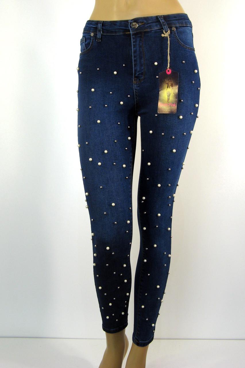 Жіночі джинси скіні з високою посадкою і перлинками
