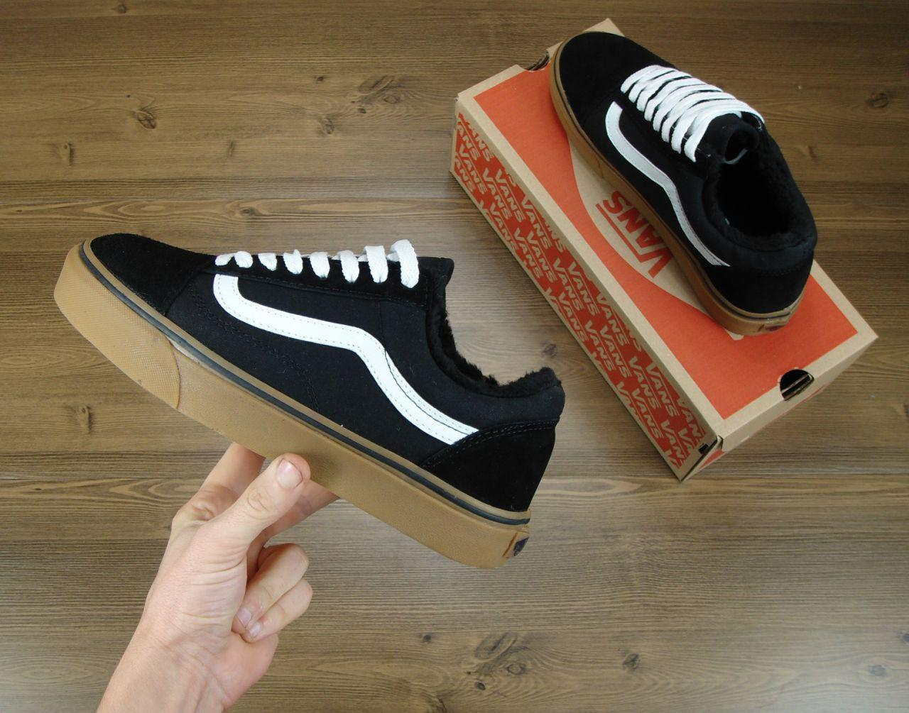 Кеды Vans Old Skool Winter Edition Black Gum, зимние вансы с мехом