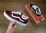 Кеды Vans Old Skool Winter Edition Bordo, зимние вансы с мехом, фото 1