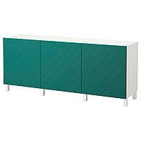 IKEA BESTA Тумба, белый, Hallstavik сине-зеленый  (192.059.83)