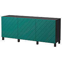 IKEA BESTA Тумба, черно-коричневая, Hallstavik сине-зеленая  (192.059.78)