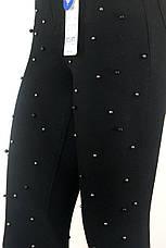 Жіночі чорні джинси скіні з високою посадкою і перлинками, фото 2