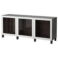 IKEA BESTA Тумба, темно-коричневый, Sindvik светло-серое прозрачное (292.059.06)
