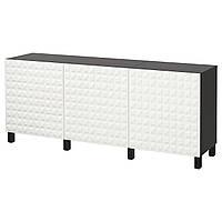 IKEA BESTA Тумба, черно-коричневый, белый Джупвикен  (391.398.88)