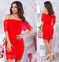 Коктейльное гипюровое платье с открытыми плечами, материал подкладки - масло, цвет - красный