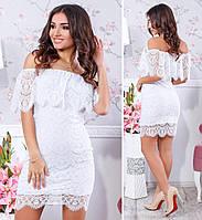 Коктейльное гипюровое платье с открытыми плечами, материал подкладки - масло, цвет - белый