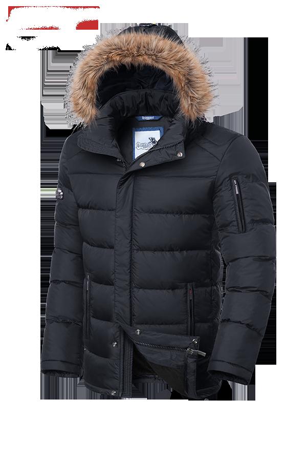 Мужская серая зимняя куртка с мехом Braggart (р. 46-56) арт. 3257G