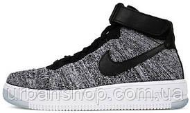 Кроссовки мужские Найк  Nike Air Force 1 Ultra Flyknit Oreo Grey