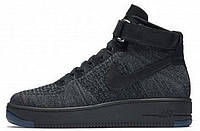 58f09458 Кроссовки мужские Найк Nike Air Force 1 Flyknit University Dark Grey/Black