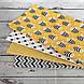 Хлопковая ткань польская пчелки черно-белые на желтом №126, фото 4