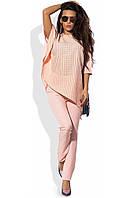 Костюм с асимметричным подолом розовый