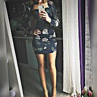 Платье Розы 42-46р ангора синий серый