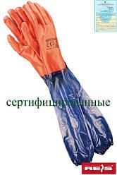 Защитные рукавицы изготовленные из ПВХ и заканчивающиеся манжетой RPCV60 CV
