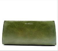 Удобный женский кошелек из искусственной кожи оливкового цвета BRM-029974, фото 1