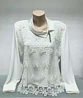 Блуза женская светлая молочная нарядная с кружевом длинный рукав большого размера
