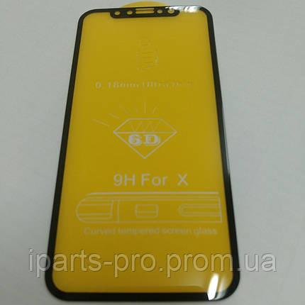 Стекло защитное для IPhone X 6D черное, фото 2