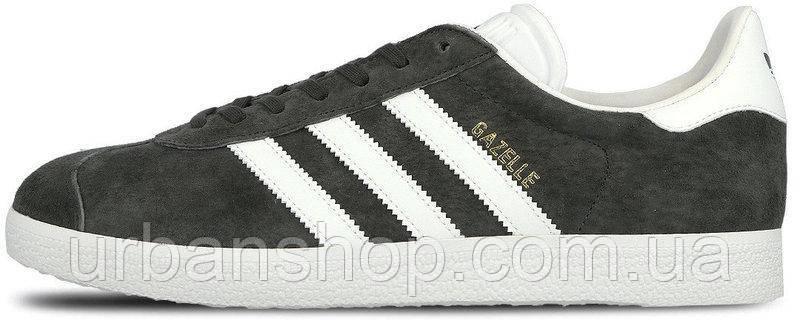 Чоловічі кросівки А-д AD Gazelle Dark Grey/White . ТОП Репліка ААА класу.