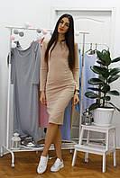 Красивое женское  бежевое платье миди по фигуре