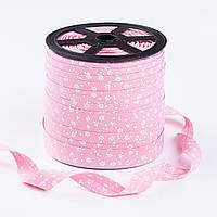 Косая бейка из хлопка с белыми цветочками на розовом фоне (18 мм ширина).