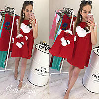 """Платье """"Мики"""" ( взрослое + детское), красное"""