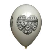 Латексные воздушные шары Gemar Италия, расцветка: Пастель белый, рисунок в форме сердца узор вышиванка, печать