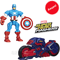 Разборная фигурка  Капитан Америка с мотоциклом - Captain America, Marvel, Mashers, Hasbro