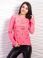 Легкий женский свитер с блестящей надписью 2217