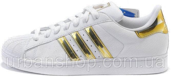 Жіночі кросівки AD Superstar Mujer White/Gold. ТОП Репліка ААА класу.