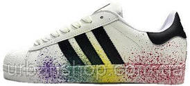 Жіночі кросівки AD Superstar Rainbow Paint Splatter White . ТОП Репліка ААА класу.
