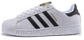 Жіночі кросівки AD Superstar ll WHITE BLACK GOLD, А-д . ТОП Репліка ААА класу.
