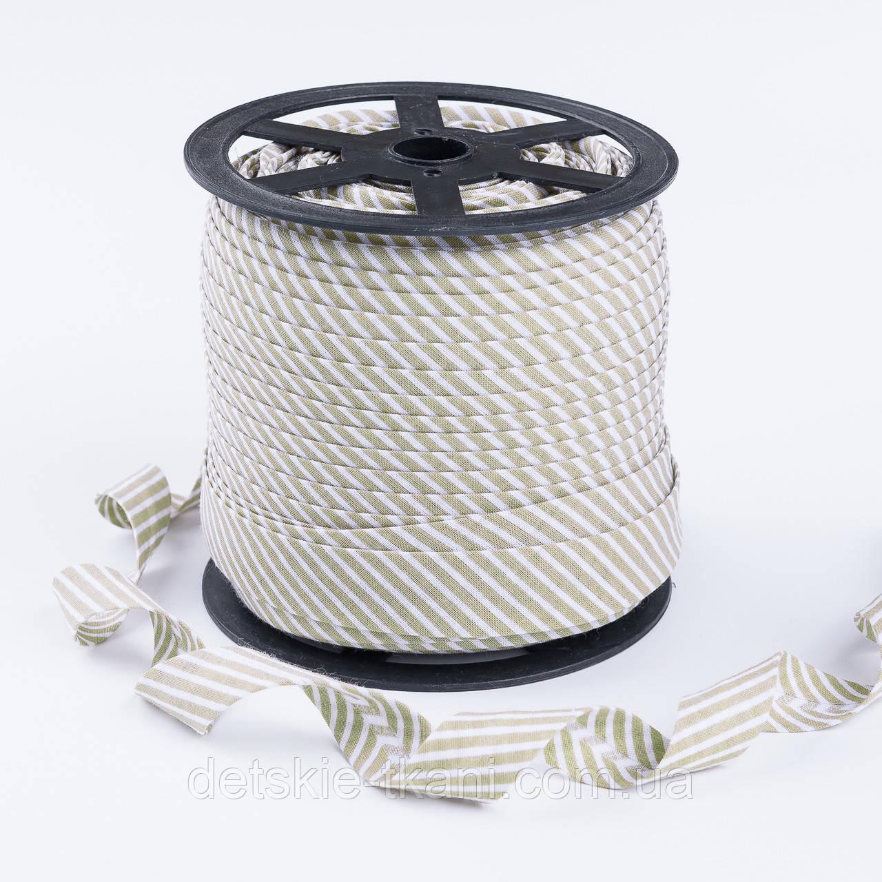 Косая бейка из хлопка для окантовки с тонкой полоской оливкового цвета