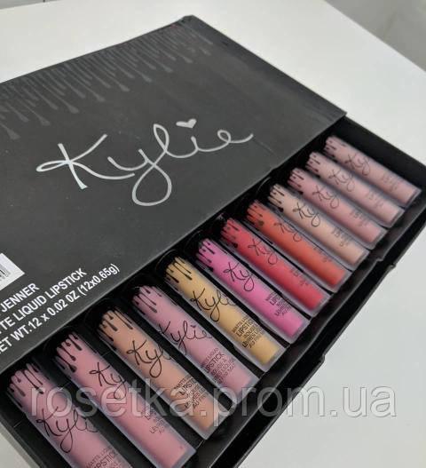 Набор жидких матовых помад Matte Liquid Lipstick от Kylie Jenner ( 12 штук по 0.65g ), фото 1