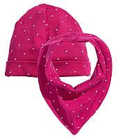 Шапка и шарф для девочки  2-6, 6-12 месяцев