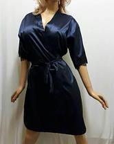 Атласный халат с красивым чёрным французским кружевом , от 44 до 50  р-ра, фото 2