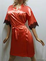 Атласный халат с красивым чёрным французским кружевом , от 44 до 50  р-ра, фото 3