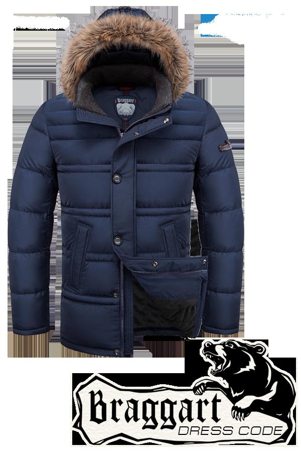 Мужская синяя зимняя куртка-парка Braggart (р.46-54) арт. 3148 синий