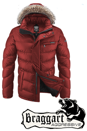 Мужская оранжевая зимняя куртка Braggart (р. 46-56) арт. 4219, фото 2