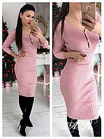 Женское трикотажное платье с застежкой на груди, в расцветках.  АР-20-0218