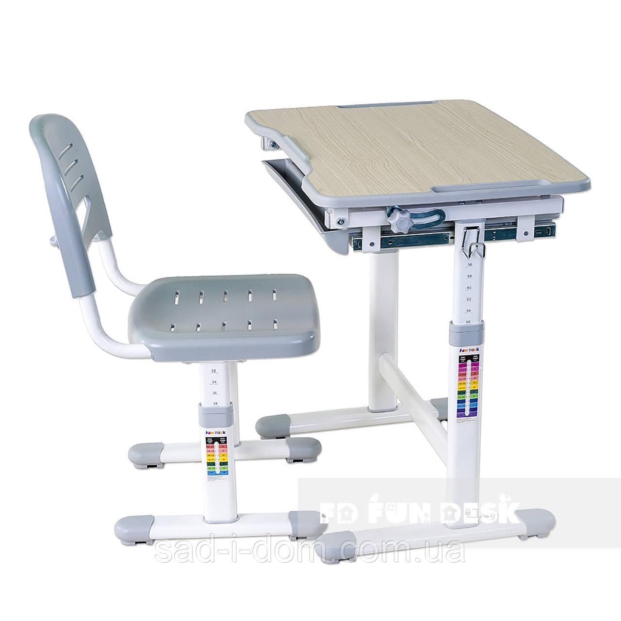 Детская парта и стул для школьника FunDesk Piccolino, серый