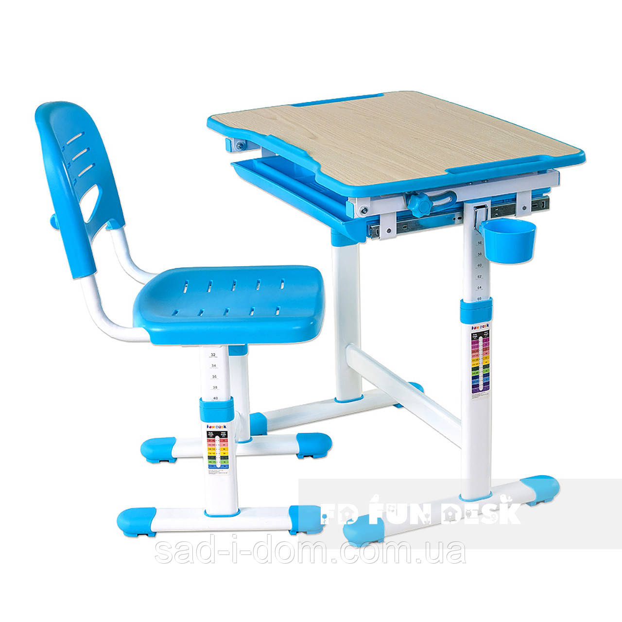Детская парта-трансформер со стульчиком FunDesk Piccolino, голубая