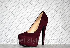 Туфли женские замшевые на каблуке Лабуте$ Loubouti$ бордовые цвет марсала Код 1317, фото 3