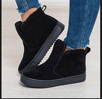 Зимние ботиночки короткие замшевые черные женские на сплошной подошве повседневный стиль