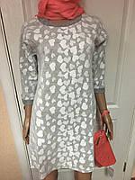 Женское платье мини трикотажное стильное и романтическое серое в сердечках