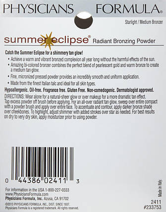 Бронзер для лица  Physicians Formula Summer Eclipse Bronzing Powder, Starlight/Medium Bronzer, фото 2