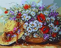 Раскраска по номерам Букет ромашек и шляпка (MR-Q1734) 40 х 50 см
