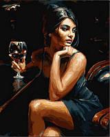 Картина-раскраска Девушка с бокалом Бордо (VP890) 40 х 50 см